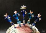 Ziernadeln mit Herzchen in blau/türkis