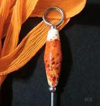 Notizzettelhalter mit orange/weißer Perle