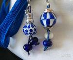 Zipperanhänger weiß/dunkelblau